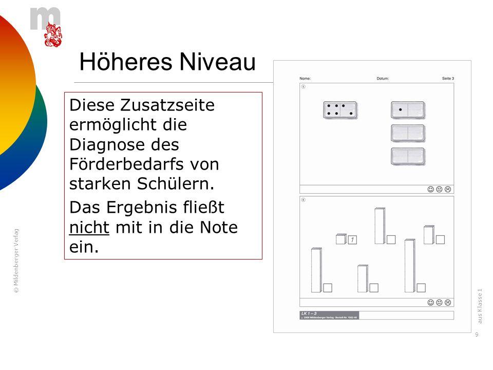 © Mildenberger Verlag 9 Höheres Niveau Seite 3 ist ebenfalls höheres Niveau. Diese Zusatzseite ermöglicht die Diagnose des Förderbedarfs von starken S