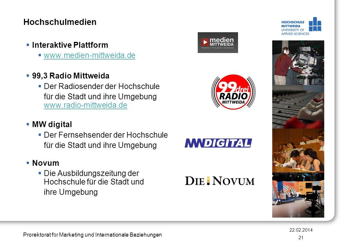Prorektorat f ü r Marketing und Internationale Beziehungen Hochschulmedien Interaktive Plattform www.medien-mittweida.de 99,3 Radio Mittweida Der Radi