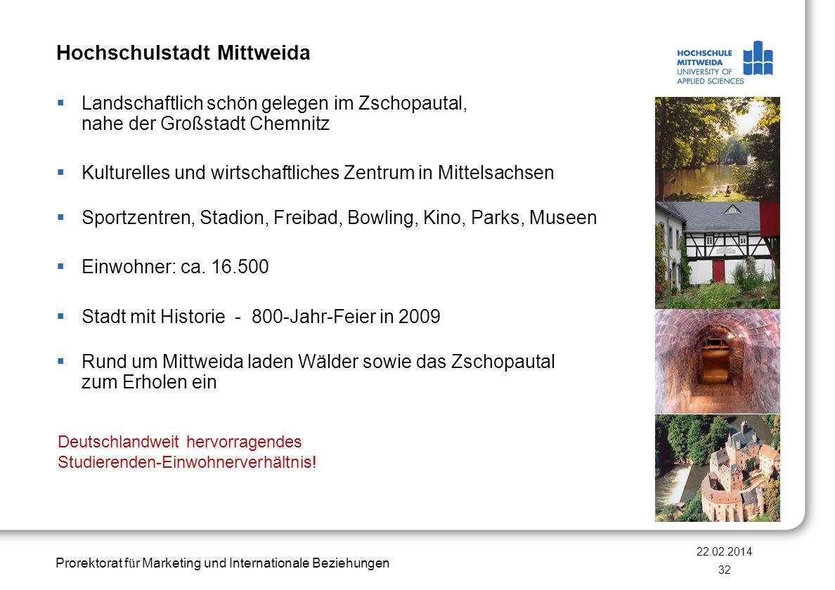 Prorektorat f ü r Marketing und Internationale Beziehungen Hochschulstadt Mittweida Landschaftlich schön gelegen im Zschopautal, nahe der Großstadt Ch