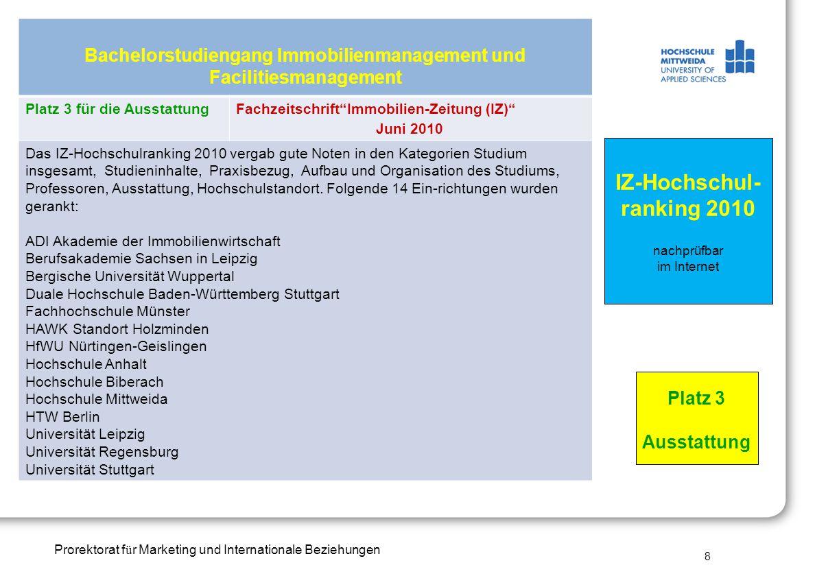 Prorektorat f ü r Marketing und Internationale Beziehungen Bachelorstudiengang Immobilienmanagement und Facilitiesmanagement Platz 3 für die Ausstattu