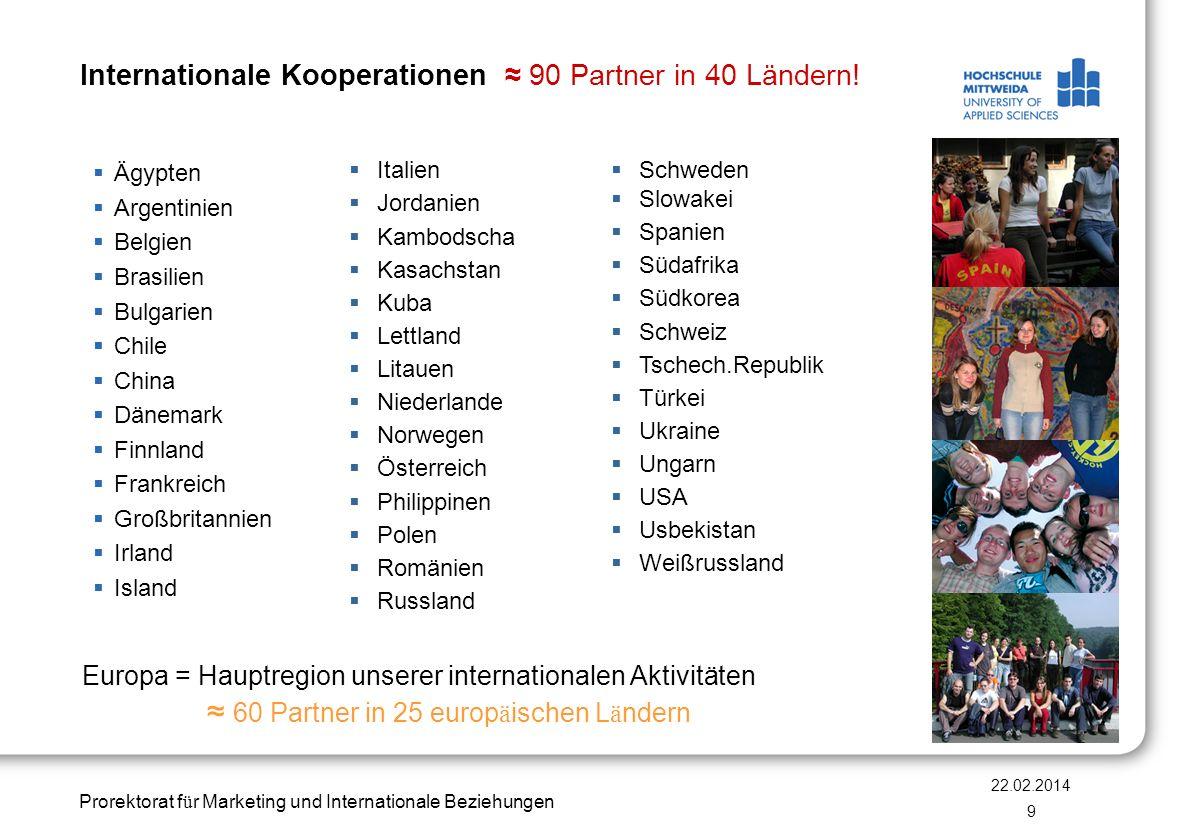 Prorektorat f ü r Marketing und Internationale Beziehungen Internationale Kooperationen 90 Partner in 40 Ländern! Ägypten Argentinien Belgien Brasilie