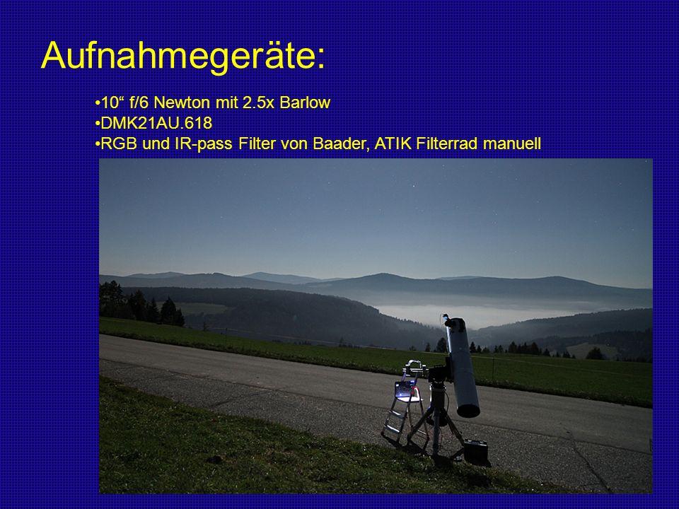 Aufnahmegeräte: 10 f/6 Newton mit 2.5x Barlow DMK21AU.618 RGB und IR-pass Filter von Baader, ATIK Filterrad manuell