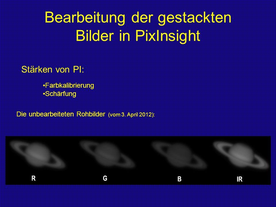 Bearbeitung der gestackten Bilder in PixInsight Stärken von PI: Farbkalibrierung Schärfung Die unbearbeiteten Rohbilder (vom 3. April 2012):