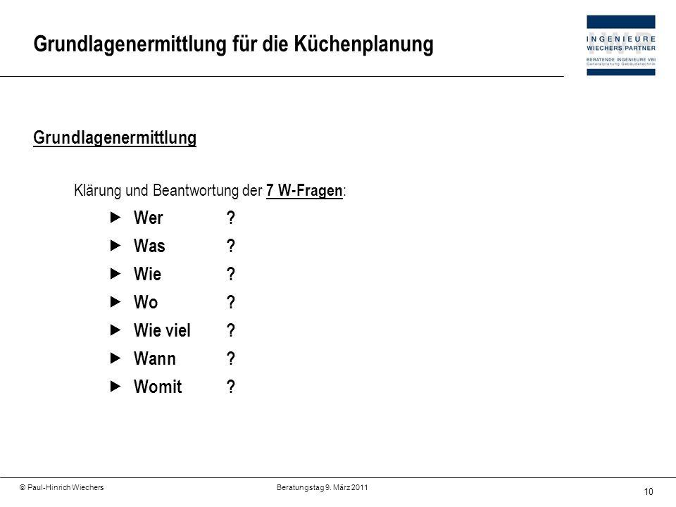 10 © Paul-Hinrich Wiechers Beratungstag 9. März 2011 Grundlagenermittlung für die Küchenplanung Grundlagenermittlung Klärung und Beantwortung der 7 W-