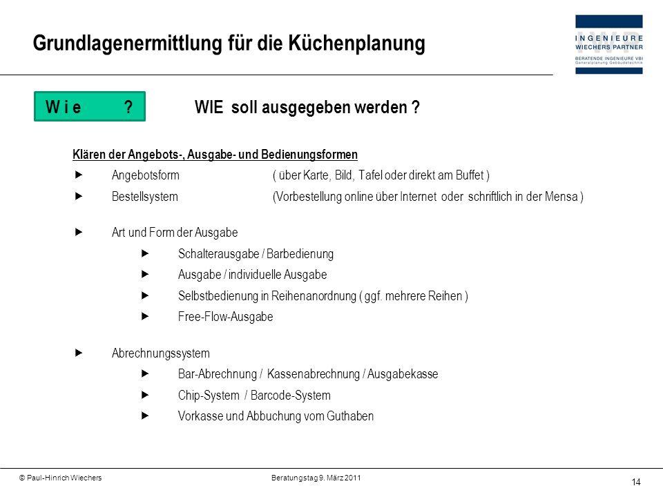 14 © Paul-Hinrich Wiechers Beratungstag 9. März 2011 W i e?WIE soll ausgegeben werden ? Klären der Angebots-, Ausgabe- und Bedienungsformen Angebotsfo
