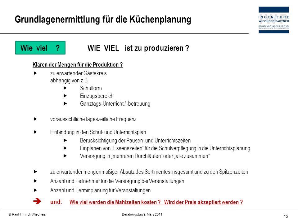15 © Paul-Hinrich Wiechers Beratungstag 9. März 2011 Wie viel?WIE VIEL ist zu produzieren ? Klären der Mengen für die Produktion ? zu erwartender Gäst