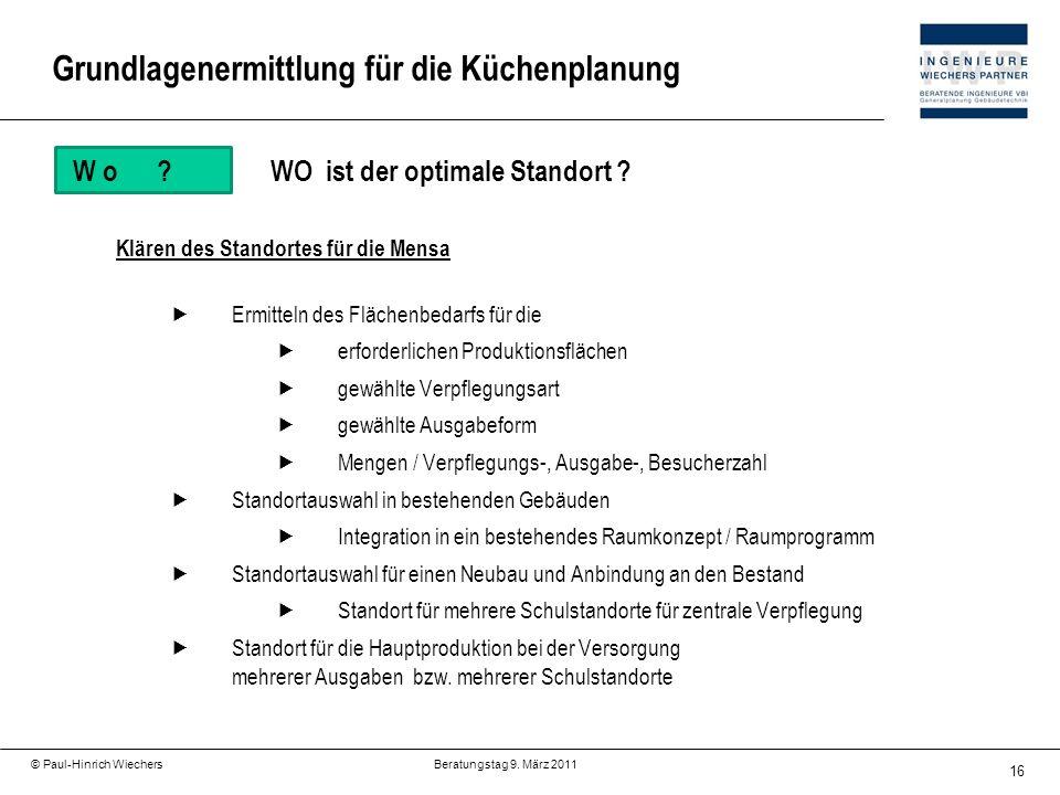 16 © Paul-Hinrich Wiechers Beratungstag 9. März 2011 W o?WO ist der optimale Standort ? Klären des Standortes für die Mensa Ermitteln des Flächenbedar