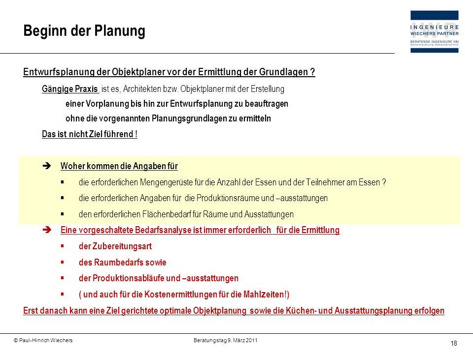 18 © Paul-Hinrich Wiechers Beratungstag 9. März 2011 Entwurfsplanung der Objektplaner vor der Ermittlung der Grundlagen ? Gängige Praxis ist es, Archi