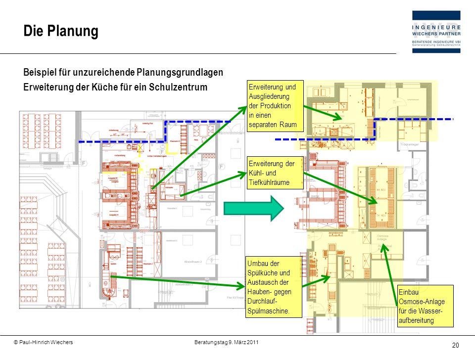 20 © Paul-Hinrich Wiechers Beratungstag 9. März 2011 Beispiel für unzureichende Planungsgrundlagen Erweiterung der Küche für ein Schulzentrum Die Plan