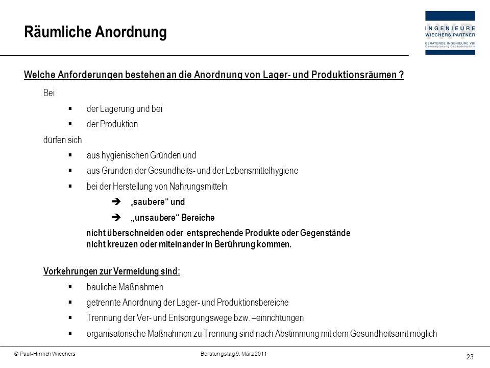 23 © Paul-Hinrich Wiechers Beratungstag 9. März 2011 Welche Anforderungen bestehen an die Anordnung von Lager- und Produktionsräumen ? Bei der Lagerun