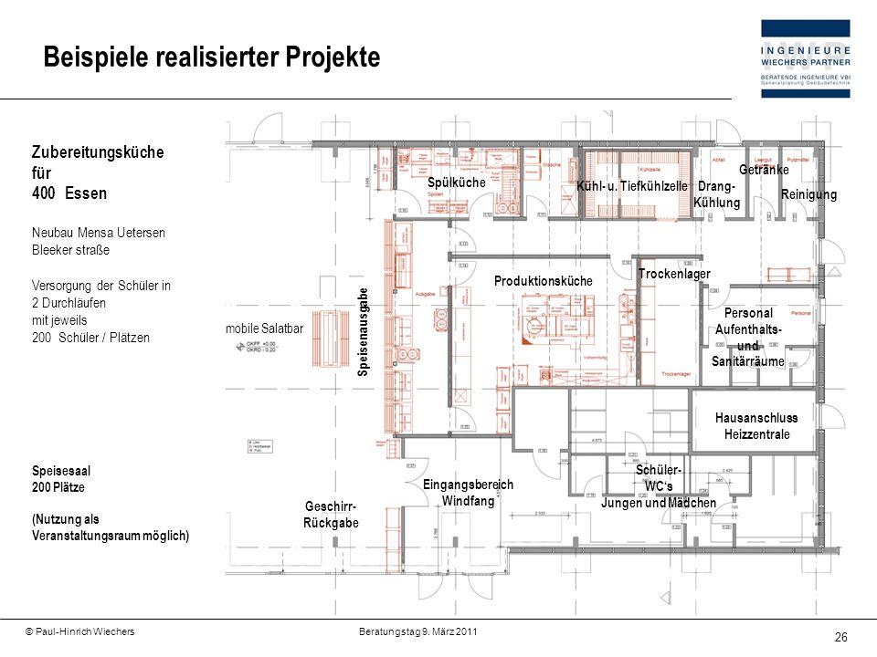 26 © Paul-Hinrich Wiechers Beratungstag 9. März 2011 Beispiele realisierter Projekte Zubereitungsküche für 400Essen Neubau Mensa Uetersen Bleeker stra