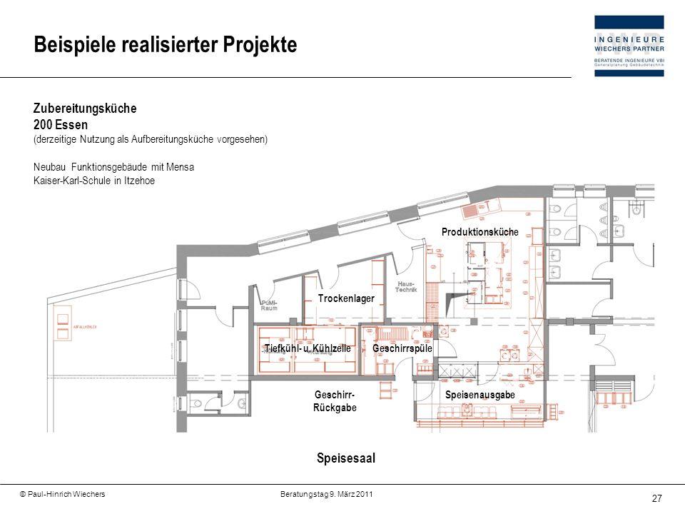 27 © Paul-Hinrich Wiechers Beratungstag 9. März 2011 Beispiele realisierter Projekte Zubereitungsküche 200 Essen (derzeitige Nutzung als Aufbereitungs
