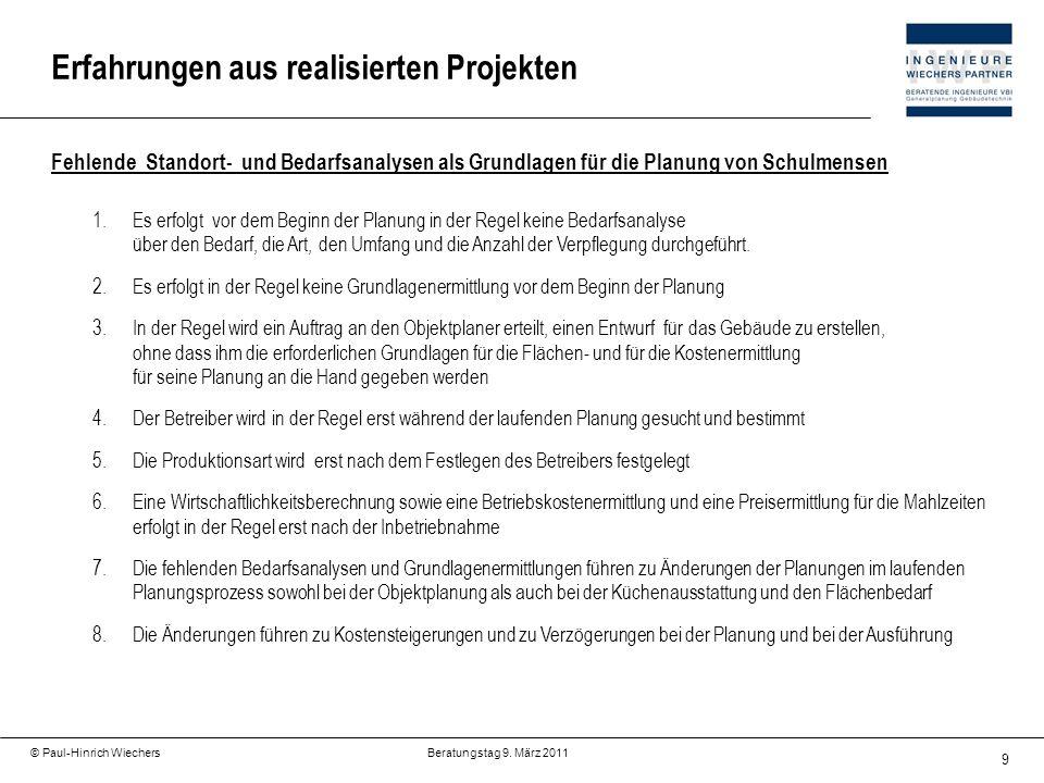 9 © Paul-Hinrich Wiechers Beratungstag 9. März 2011 Erfahrungen aus realisierten Projekten Fehlende Standort- und Bedarfsanalysen als Grundlagen für d