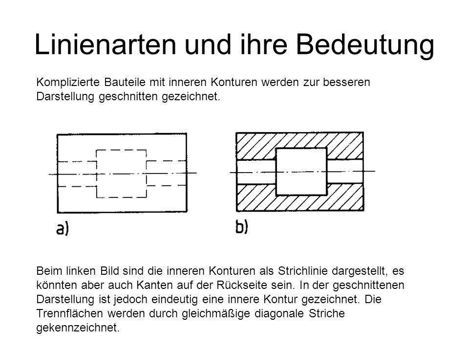 Linienarten und ihre Bedeutung Komplizierte Bauteile mit inneren Konturen werden zur besseren Darstellung geschnitten gezeichnet. Beim linken Bild sin