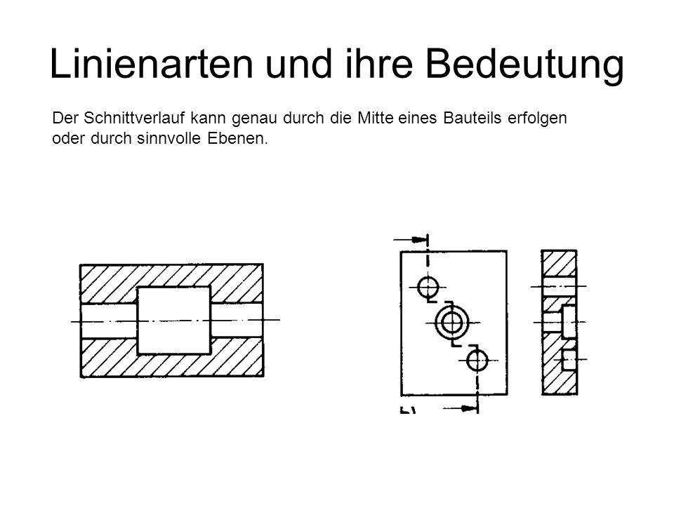 Linienarten und ihre Bedeutung Der Schnittverlauf kann genau durch die Mitte eines Bauteils erfolgen oder durch sinnvolle Ebenen.