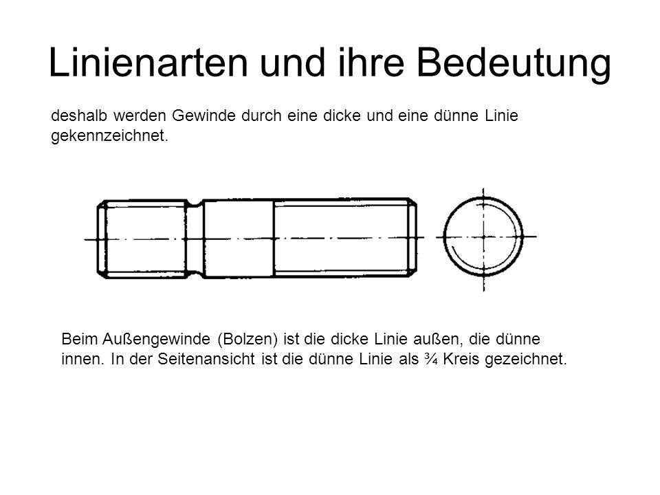 Linienarten und ihre Bedeutung deshalb werden Gewinde durch eine dicke und eine dünne Linie gekennzeichnet. Beim Außengewinde (Bolzen) ist die dicke L