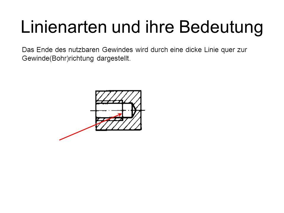 Linienarten und ihre Bedeutung Das Ende des nutzbaren Gewindes wird durch eine dicke Linie quer zur Gewinde(Bohr)richtung dargestellt.