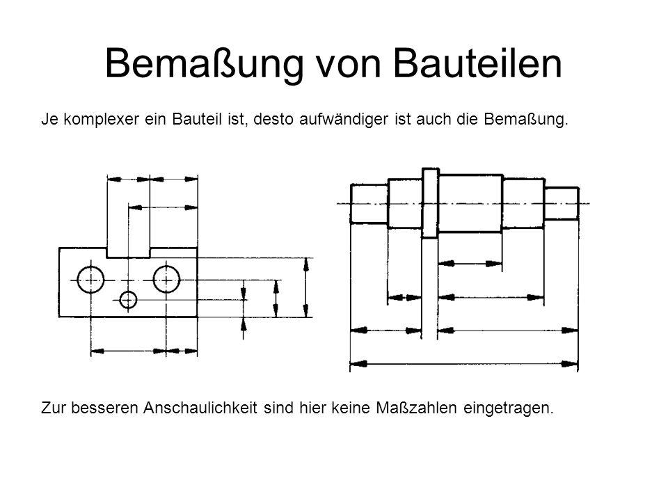 Bemaßung von Bauteilen Je komplexer ein Bauteil ist, desto aufwändiger ist auch die Bemaßung. Zur besseren Anschaulichkeit sind hier keine Maßzahlen e