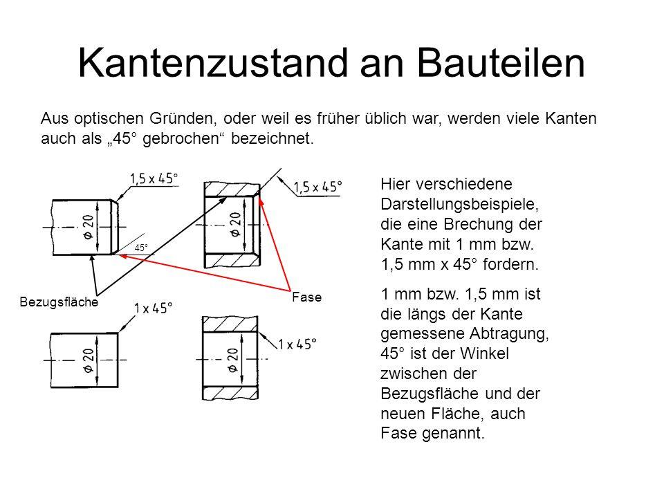 Kantenzustand an Bauteilen Aus optischen Gründen, oder weil es früher üblich war, werden viele Kanten auch als 45° gebrochen bezeichnet. Hier verschie