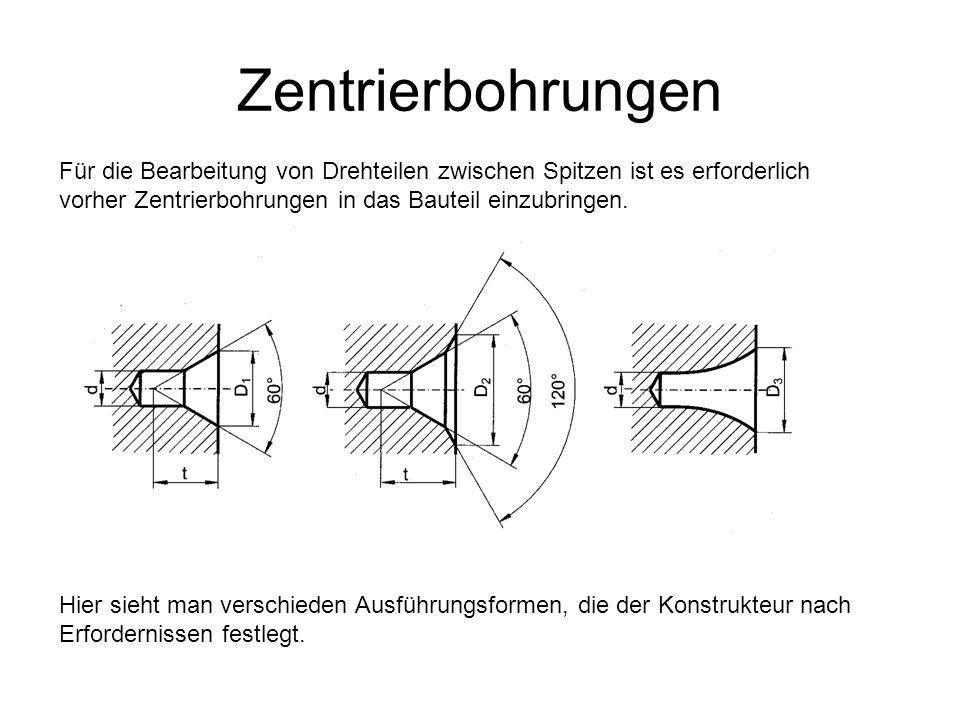 Zentrierbohrungen Für die Bearbeitung von Drehteilen zwischen Spitzen ist es erforderlich vorher Zentrierbohrungen in das Bauteil einzubringen. Hier s