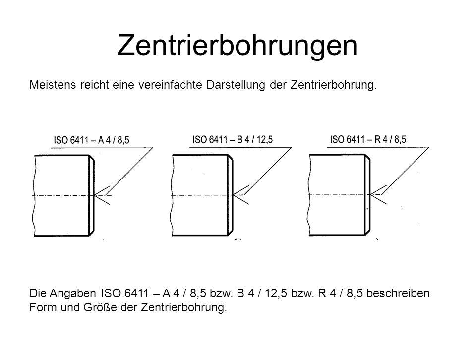Zentrierbohrungen Meistens reicht eine vereinfachte Darstellung der Zentrierbohrung. Die Angaben ISO 6411 – A 4 / 8,5 bzw. B 4 / 12,5 bzw. R 4 / 8,5 b
