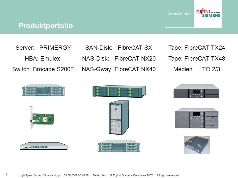 High Speed für den Mittelstand.ppt 03.05.2007 00:45:25 Detlef Lieb © Fujitsu Siemens Computers 2007 All rights reserved 9 FibreCAT SX60 - Produktübersicht Ein oder zwei Controller Kühlung N+1 redundante Stromversorgung Hot-Swap-fähig Konnektivität DAS und SAN, FC Windows, Linux, VMware 8 Hosts 24 SATA-II Platten (12 TB) 250, 500 & 750 GB SATA-Laufwerkskapazität RAID 0, 1, 1/0, 3, 5, 5/0 Hotspare-Unterstützung Abbildung ähnlich FibreCAT SX60
