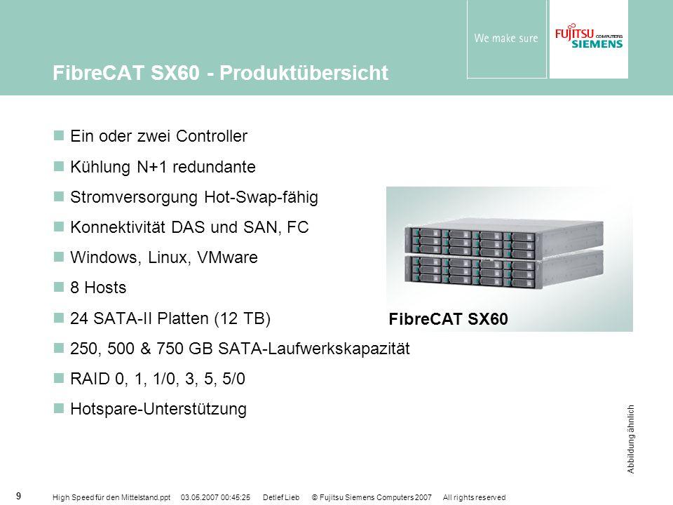 High Speed für den Mittelstand.ppt 03.05.2007 00:45:25 Detlef Lieb © Fujitsu Siemens Computers 2007 All rights reserved 10 FibreCAT SX80 - Produktübersicht Ein oder zwei Prozessoren N+1 redundante Kühlung Stromversorgung Hot-Swap-fähige Konnektivität DAS und SAN, FC Windows, Linux, VMware, Solaris 16 Hosts 56 SATA-II und / oder SAS-Platten (28 TB) 73, 146 & 300GB SAS-Laufwerkskapazität 250, 500 & 750GB SATA-Laufwerkskapazität RAID 0, 1, 10, 3, 5, 50 Hotspare-Unterstützung Abbildung ähnlich FibreCAT SX80