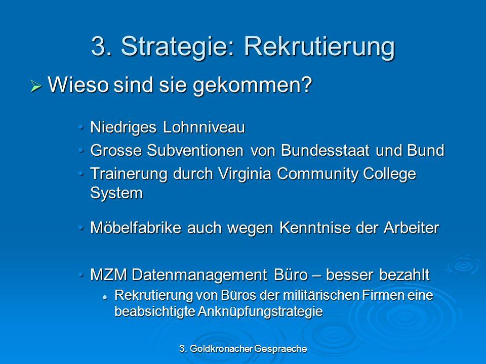 3. Goldkronacher Gespraeche 3. Strategie: Rekrutierung Wieso sind sie gekommen.