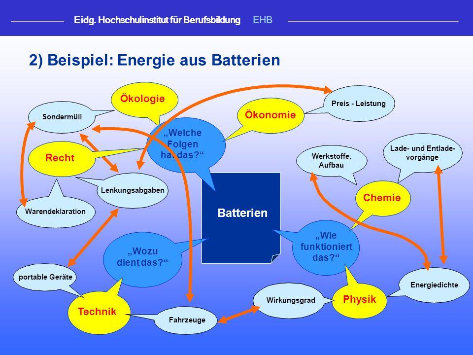 2) Beispiel: Energie aus Batterien Lade- und Entlade- vorgänge Sondermüll Preis - Leistung Energiedichte Warendeklaration Werkstoffe, Aufbau Lenkungsabgaben Batterien Wozu dient das.