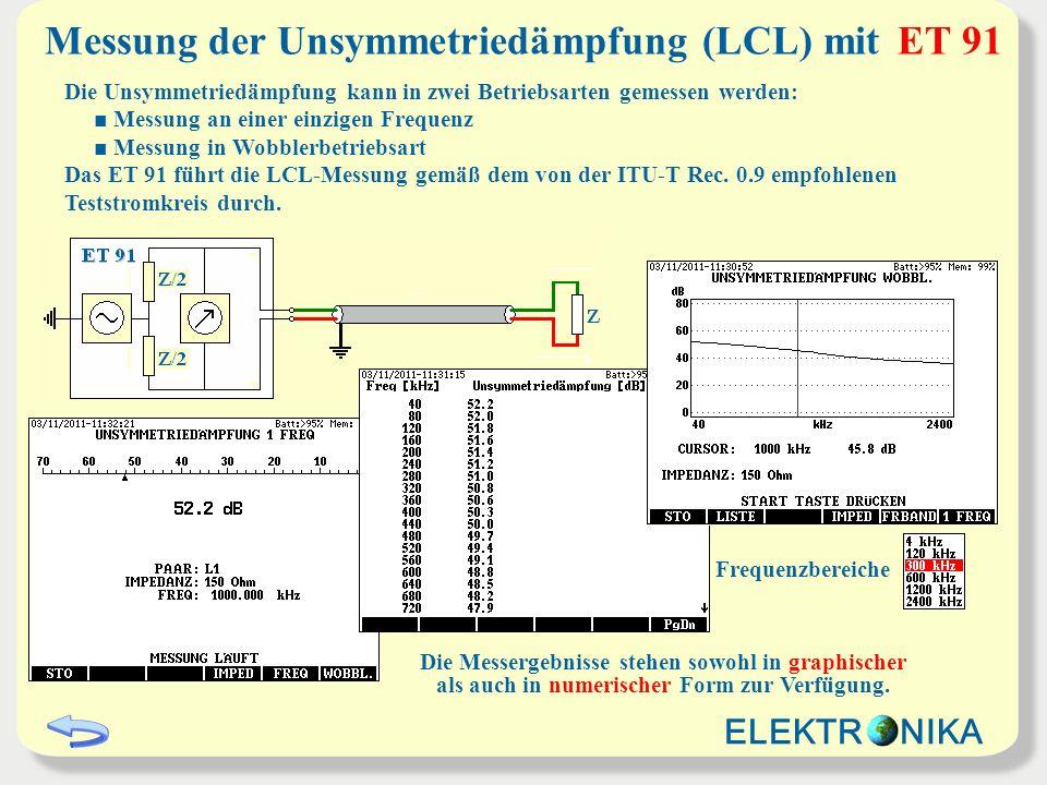 Messung der Unsymmetriedämpfung (LCL) mit ET 91 Die Unsymmetriedämpfung kann in zwei Betriebsarten gemessen werden: Messung an einer einzigen Frequenz