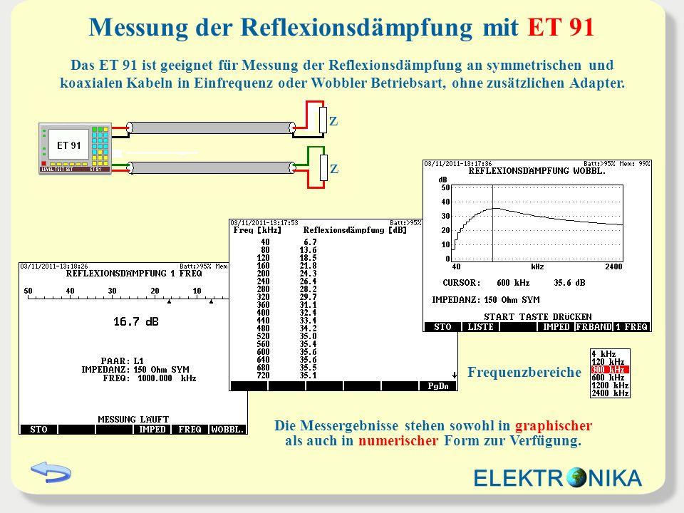 Messung der Nahnebensprechdämpfung mit ET 91 Das ET 91 ist geeignet für Messung der Nahnebensprechdämpfung an symmetrischen und koaxialen Kabeln in Einfrequenz oder Wobbler Betriebsart.