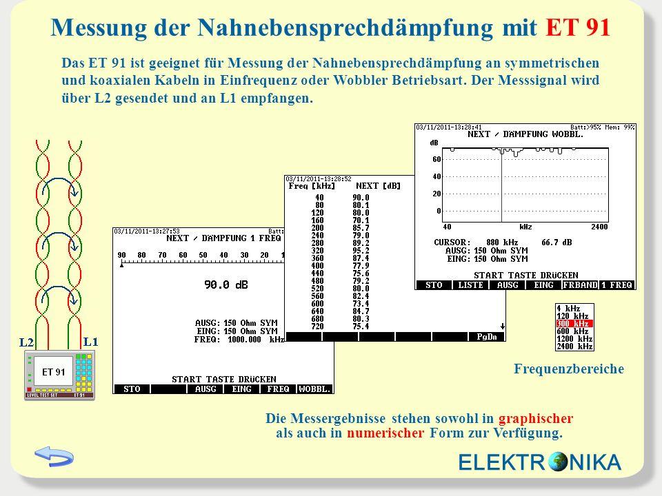 Messung der Nahnebensprechdämpfung mit ET 91 Das ET 91 ist geeignet für Messung der Nahnebensprechdämpfung an symmetrischen und koaxialen Kabeln in Ei