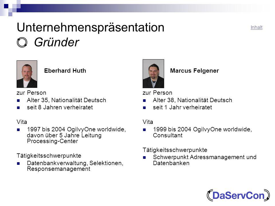Unternehmenspräsentation Gründer Eberhard Huth zur Person Alter 35, Nationalität Deutsch seit 8 Jahren verheiratet Vita 1997 bis 2004 OgilvyOne worldw