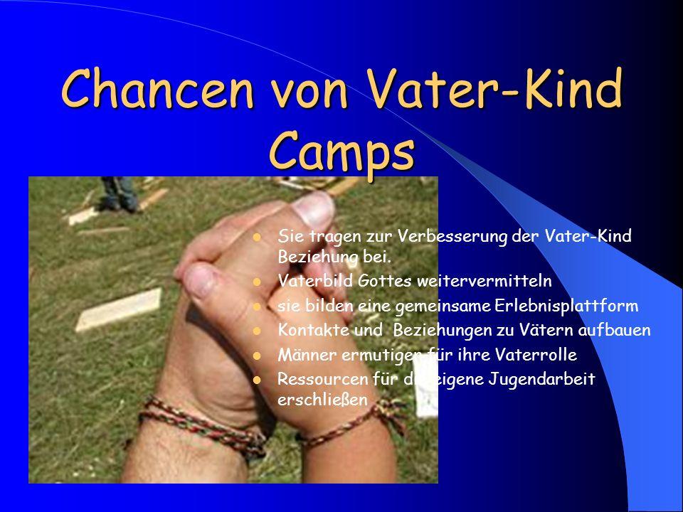 Chancen von Vater-Kind Camps Sie tragen zur Verbesserung der Vater-Kind Beziehung bei. Vaterbild Gottes weitervermitteln sie bilden eine gemeinsame Er