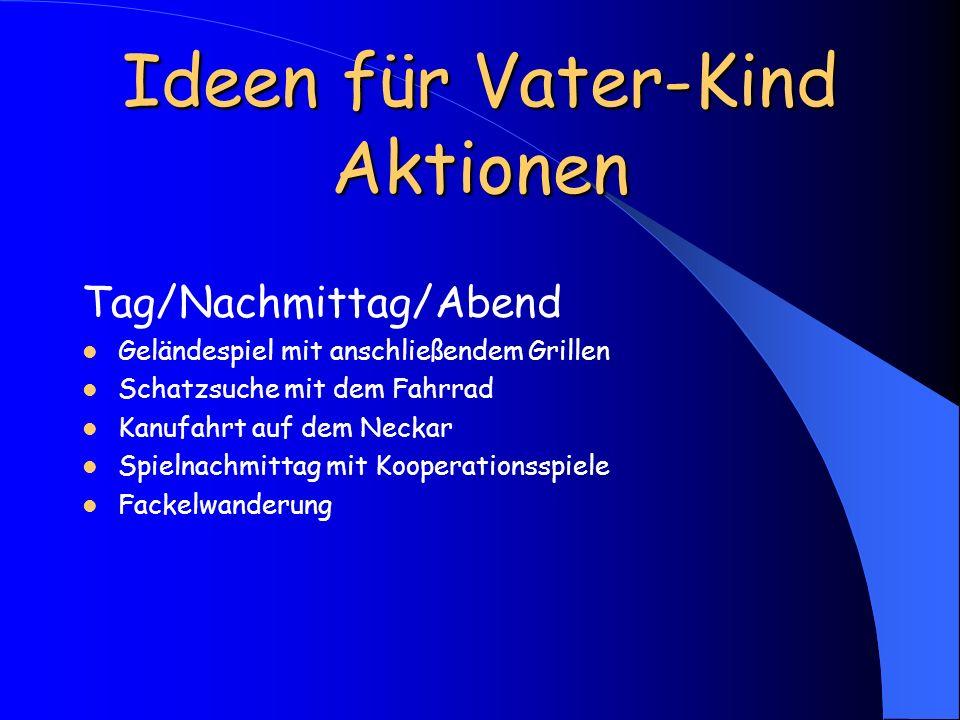 Ideen für Vater-Kind Aktionen Tag/Nachmittag/Abend Geländespiel mit anschließendem Grillen Schatzsuche mit dem Fahrrad Kanufahrt auf dem Neckar Spieln