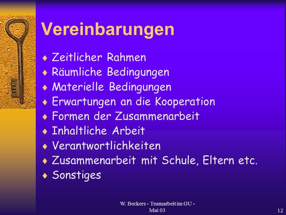 W. Beckers - Teamarbeit im GU - Mai 0312 Vereinbarungen Zeitlicher Rahmen Räumliche Bedingungen Materielle Bedingungen Erwartungen an die Kooperation