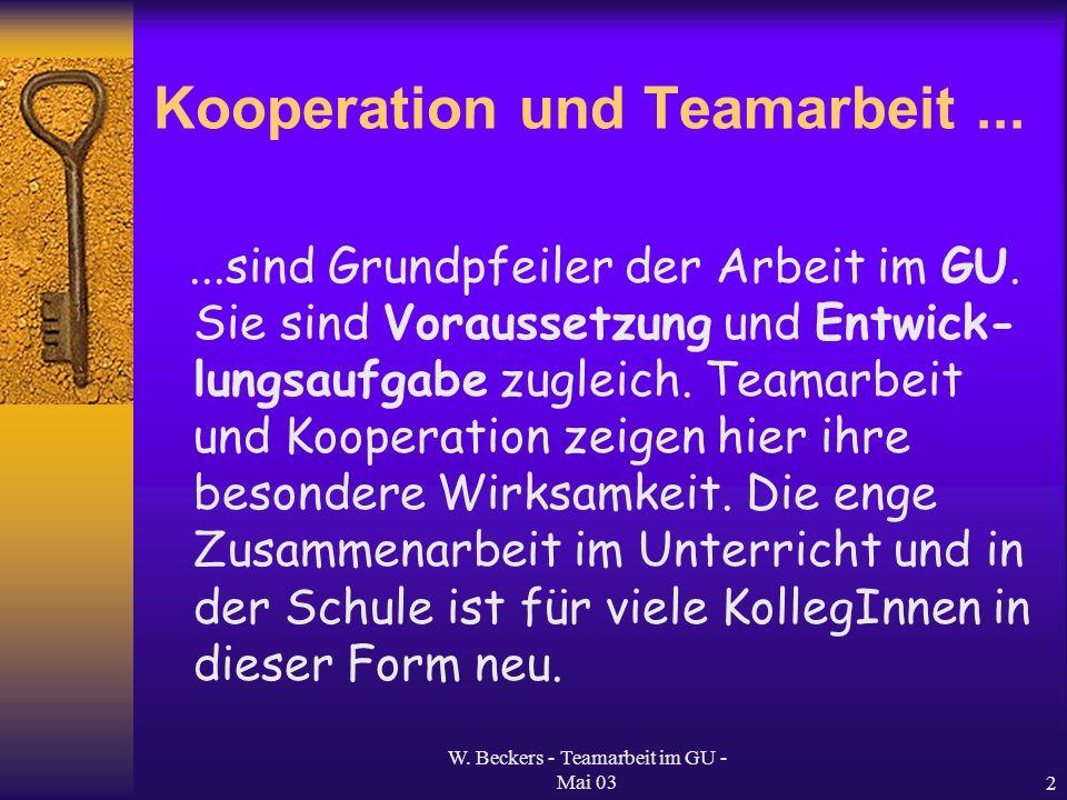 W. Beckers - Teamarbeit im GU - Mai 032 Kooperation und Teamarbeit......sind Grundpfeiler der Arbeit im GU. Sie sind Voraussetzung und Entwick- lungsa
