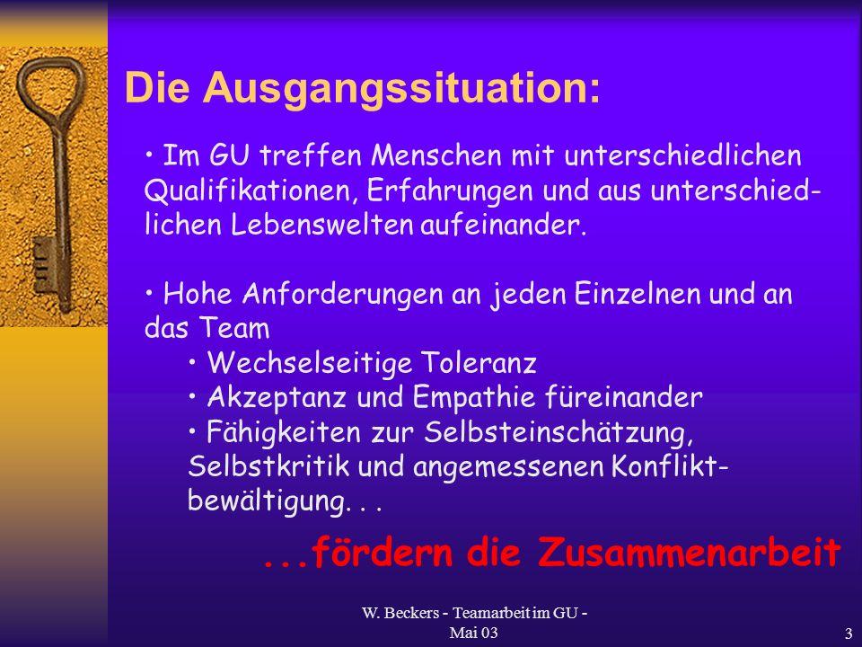W. Beckers - Teamarbeit im GU - Mai 033 Die Ausgangssituation: Im GU treffen Menschen mit unterschiedlichen Qualifikationen, Erfahrungen und aus unter