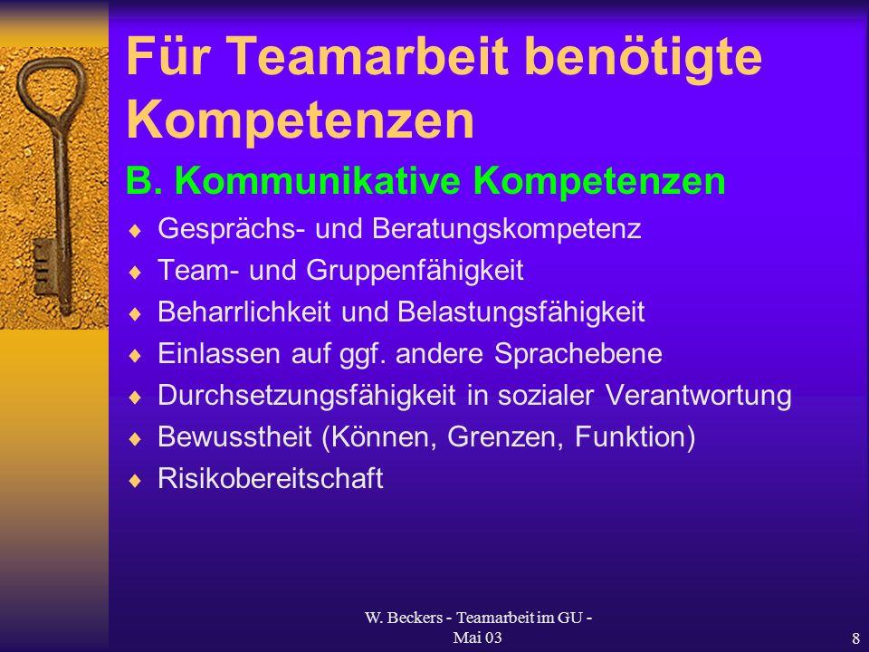 W. Beckers - Teamarbeit im GU - Mai 038 Für Teamarbeit benötigte Kompetenzen B. Kommunikative Kompetenzen Gesprächs- und Beratungskompetenz Team- und