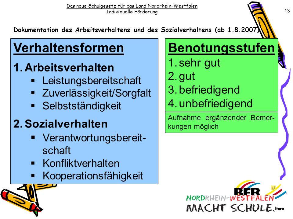Das neue Schulgesetz für das Land Nordrhein-Westfalen Individuelle Förderung Dokumentation des Arbeitsverhaltens und des Sozialverhaltens (ab 1.8.2007