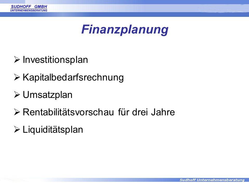 Finanzplanung Investitionsplan Kapitalbedarfsrechnung Umsatzplan Rentabilitätsvorschau für drei Jahre Liquiditätsplan