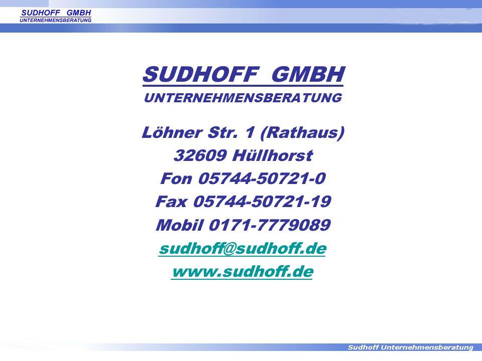 SUDHOFF GMBH UNTERNEHMENSBERATUNG Löhner Str. 1 (Rathaus) 32609 Hüllhorst Fon 05744-50721-0 Fax 05744-50721-19 Mobil 0171-7779089 sudhoff@sudhoff.de w