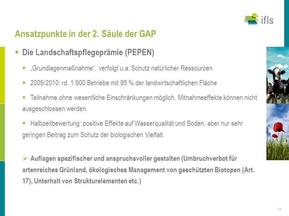 11 Ansatzpunkte in der 2. Säule der GAP Die Landschaftspflegeprämie (PEPEN) Grundlagenmaßnahme, verfolgt u.a. Schutz natürlicher Ressourcen 2009/2010: