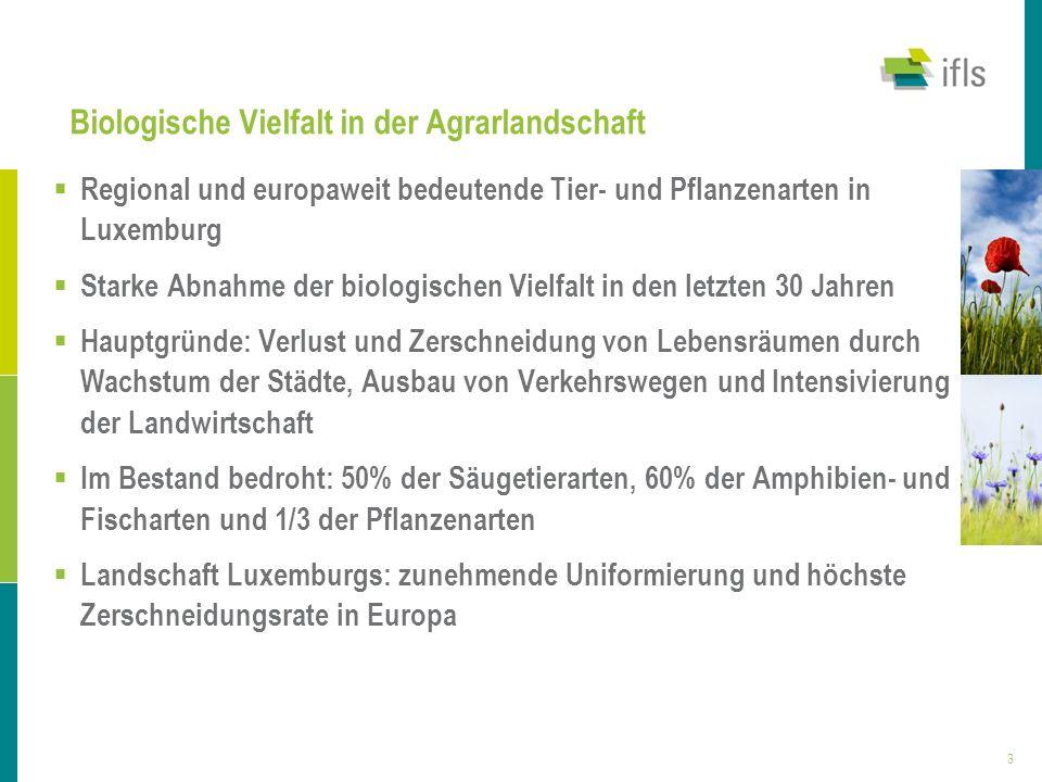 3 Biologische Vielfalt in der Agrarlandschaft Regional und europaweit bedeutende Tier- und Pflanzenarten in Luxemburg Starke Abnahme der biologischen