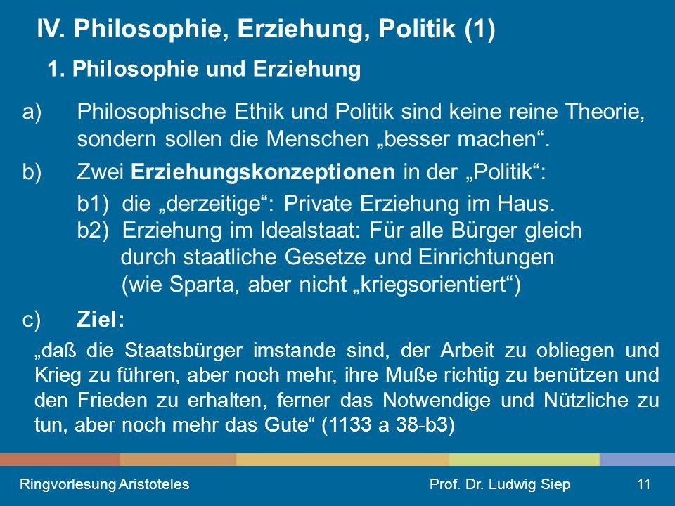Ringvorlesung AristotelesProf.Dr. Ludwig Siep11 IV.