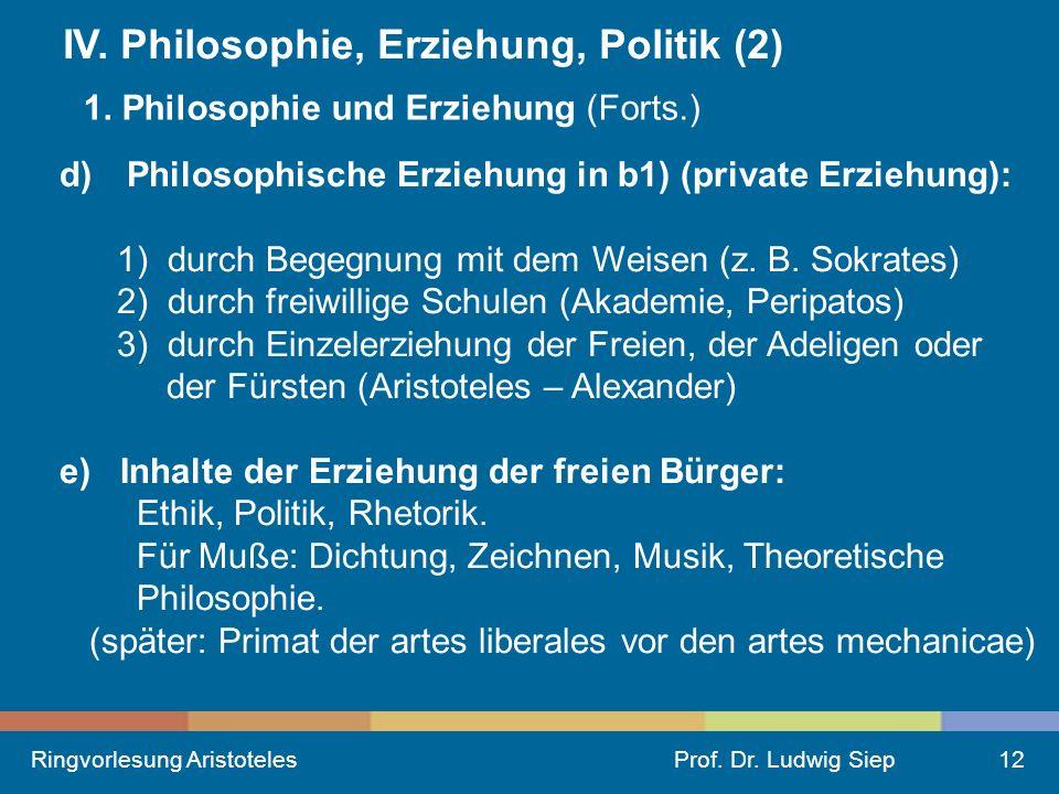 Ringvorlesung AristotelesProf.Dr. Ludwig Siep12 IV.