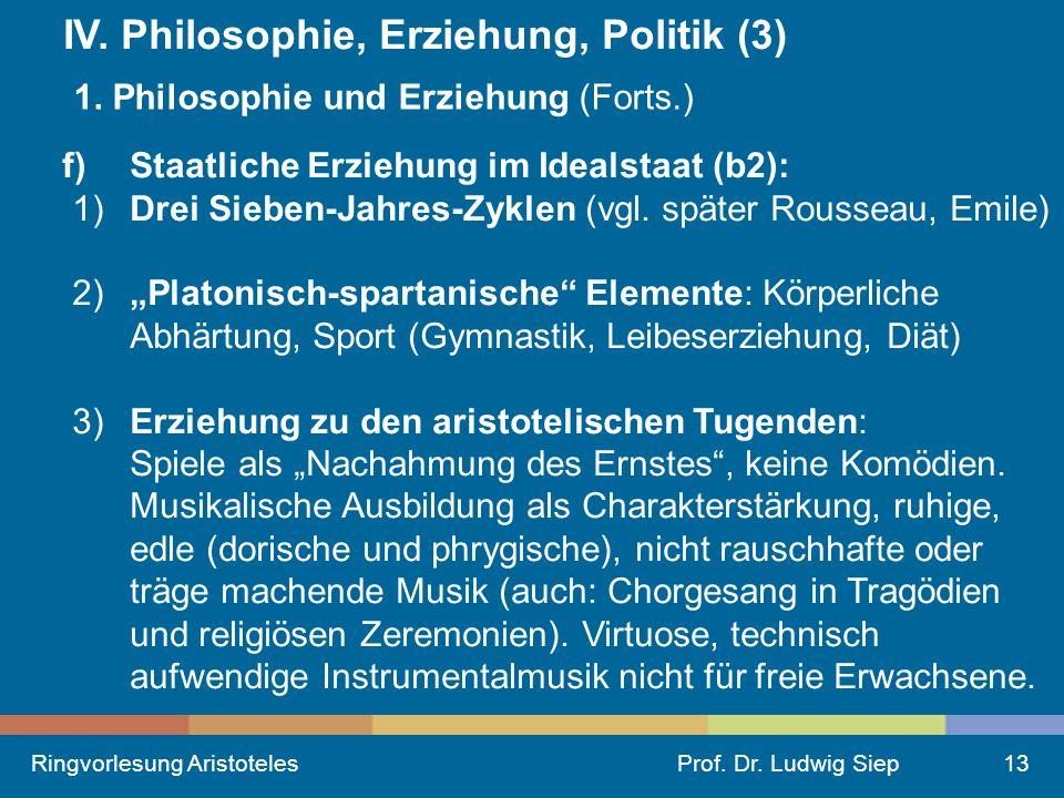 Ringvorlesung AristotelesProf.Dr. Ludwig Siep13 IV.