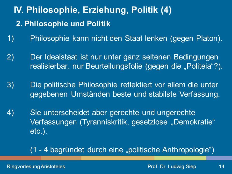 Ringvorlesung AristotelesProf.Dr. Ludwig Siep14 IV.