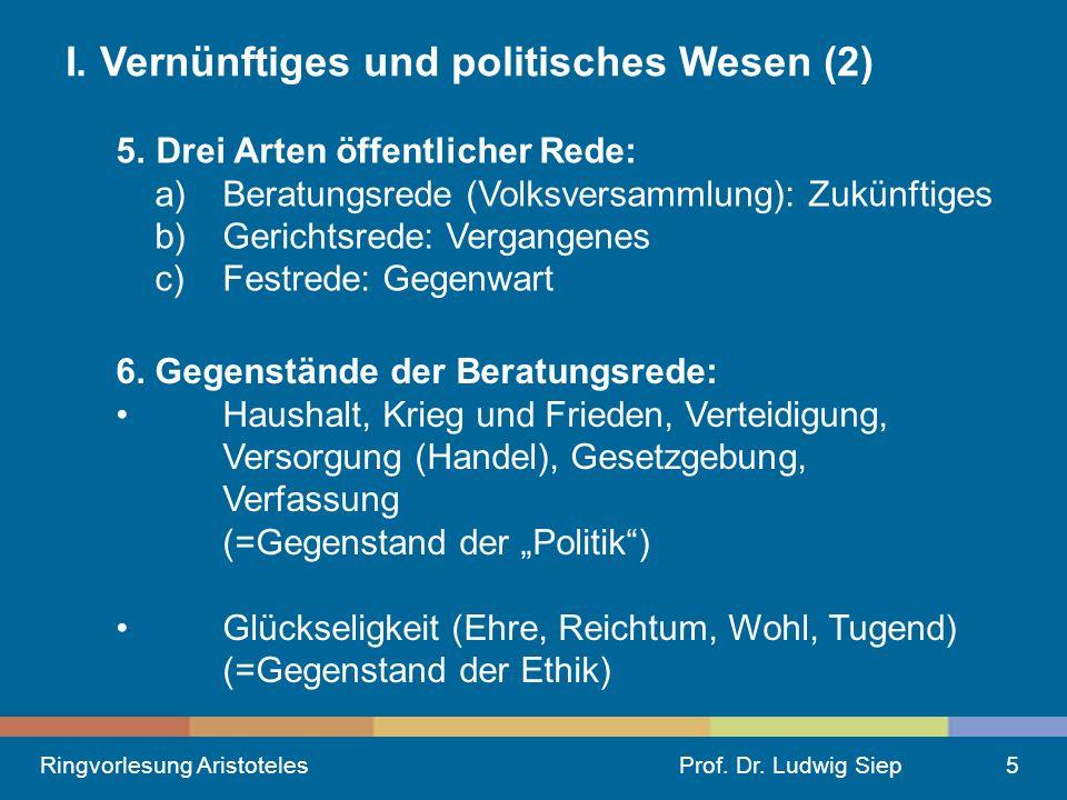 Ringvorlesung AristotelesProf.Dr. Ludwig Siep5 I.