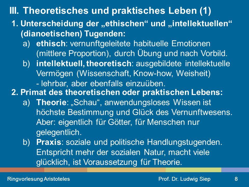 Ringvorlesung AristotelesProf.Dr. Ludwig Siep8 III.